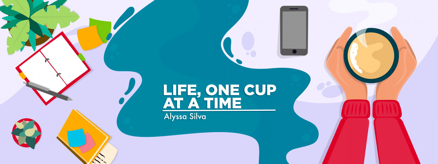 A banner for Alyssa's column, which depicts hands holding a cup of coffee — beside them are various desk items like a planner and plant.