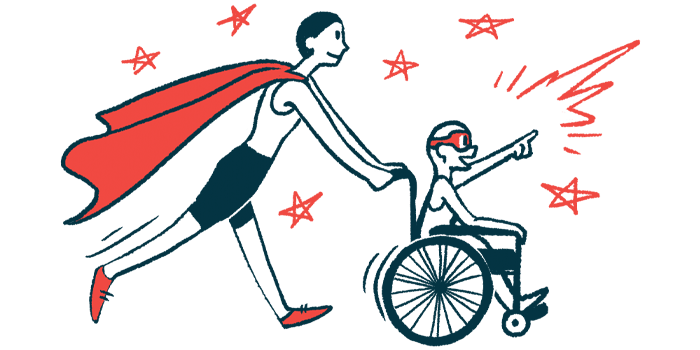 rare disease clinical trial participants   SMA News Today   Illustration of woman in cape pushing child in wheelchair