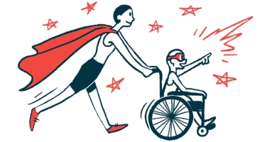 All Wheels Up for airplane accessibility | illustration of child in wheelchair pushed by adult with cape